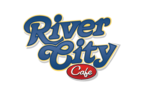 River City Cafe Logo with link to Website and  and idelicious burger and best of beach  award